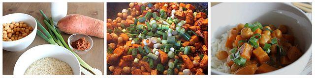 Zubereitung mit Süßkartoffel, Kichererbsen, Frühlingszwiebeln, Currypaste und Kokosmilch