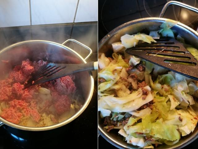 Zubereitung Spitzkohl mit Hackfleisch